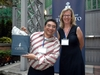 Prizewinner Jose Carillo accepts a prize from Brenda Cossman (LLB 1986 LAW).